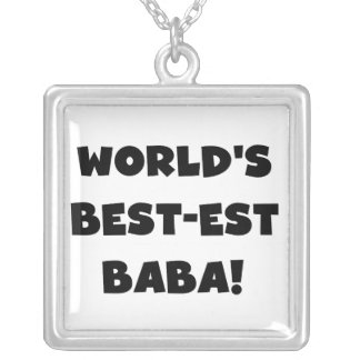 Black Text Best-est Baba T-shirts and Gifts Square Pendant Necklace