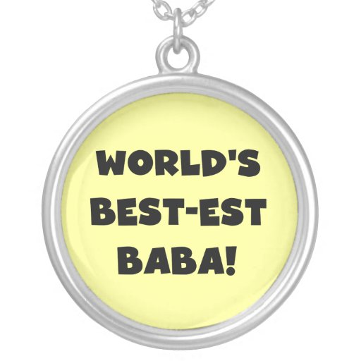 Black Text Best-est Baba T-shirts and Gifts Round Pendant Necklace