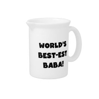 Black Text Best-est Baba T-shirts and Gifts Drink Pitchers