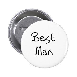Black Text Best Man Pinback Button