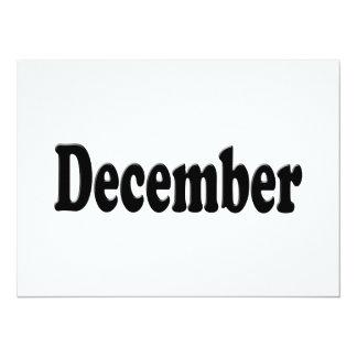 "Black Text - December 5.5"" X 7.5"" Invitation Card"