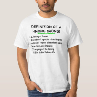 BLACK TEXT Definition of a Hmong (w/ Last names) Tee Shirt