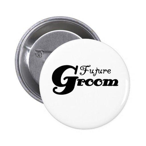 Black Text Future Groom 2 Inch Round Button