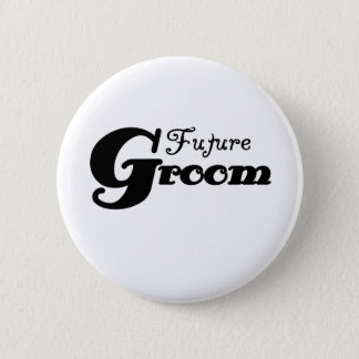 Black Text Future Groom Button