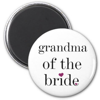 Black Text Grandma of the Bride Magnet