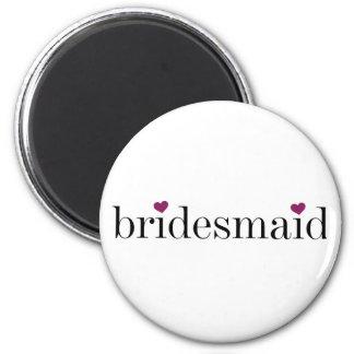 Black Text Hearts Bridesmaid Magnet