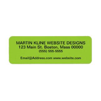 Black Text on Lime Green Custom Return Address Labels