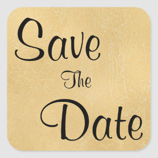 Black Text on Tan Color Abstract Save The Date Square Sticker