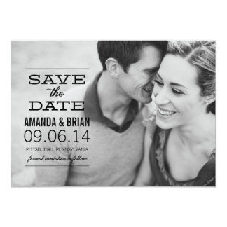 BLACK TEXT Photo Save the Date Announcement
