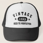 "Black Text Vintage Aged to Perfection Hat<br><div class=""desc"">Vintage 1944 1945 1946 1947 1948 1949 1950 1951 1952 1953 1954 1955 1956 1957 1958 1959 1960 1961 1962 1963 1964 1965 1966 1967 1968 1969 1970 1971 1972 1973 1974 1975 1976 1977 1978 1979 1980 1981 1982 1983 1984 Aged to Perfection. Funny 30th 31st 32nd 33rd 34th...</div>"