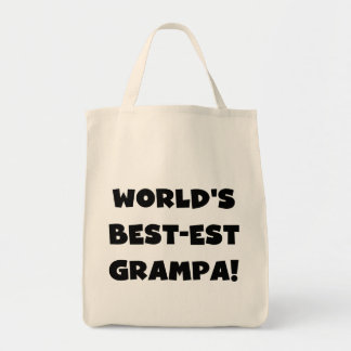 Black Text World's Best-est Grampa T-shirts Gifts Grocery Tote Bag