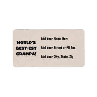Black Text World's Best-est Grampa T-shirts Gifts Label