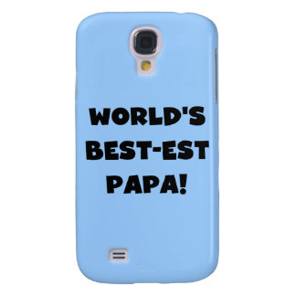Black Text World's Best-est Papa and Gifts Samsung Galaxy S4 Case