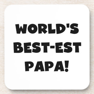 Black Text World's Best-est Papa Tshirts and Gifts Drink Coasters