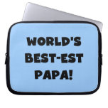 Black Text World's Best-est Papa Tshirts and Gifts Laptop Sleeve