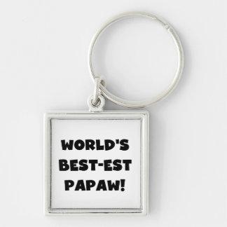 Black Text World's Best-est Papaw Gifts Keychain