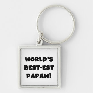 Black Text World's Best-est Papaw Gifts Silver-Colored Square Keychain