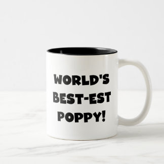 Black Text World's Best-est Poppy Gifts Two-Tone Coffee Mug