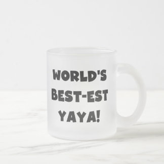 Black Text World's Best-est Yaya Gifts Frosted Glass Coffee Mug