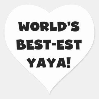 Black Text World's Best-est Yaya Gifts Heart Sticker