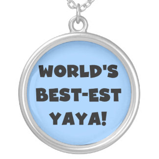 Black Text World's Best-est Yaya Gifts Round Pendant Necklace