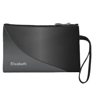 Black Textured Corner Swoop Wristlet Wallet