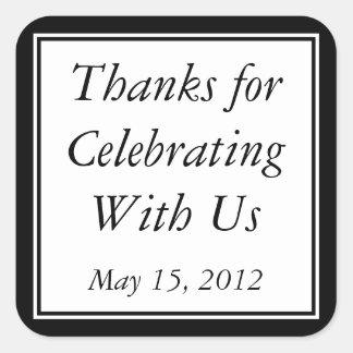 Black Thank You Gift Sticker & Wedding Favor Label