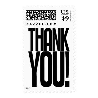 Black Thank You! Postage Stamp