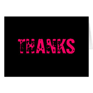 """Black """"Thanks"""" Thank You Card W/ Hot Pink Text"""