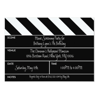 Black That's a Wrap Movie Clapper Birthday Party 5x7 Paper Invitation Card