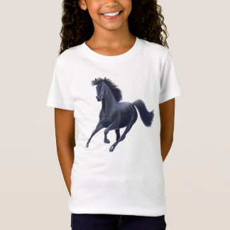 Black Thoroughbred Horse Girls Baby Doll Shirt