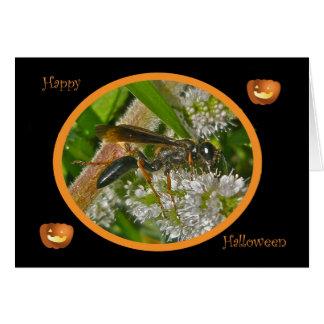 Black Thread-Waist Wasp Halloween Card