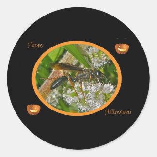 Black Thread-Waist Wasp Halloween Stickers