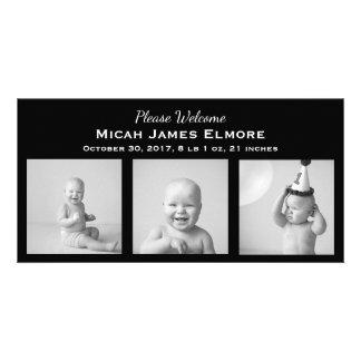 Black Three Photo Birth Announcement