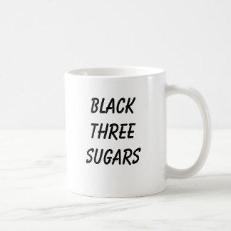 BLACK THREE SUGARS COFFEE MUG