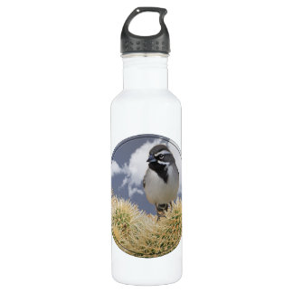 Black Throated Sparrow in Cactus Water Bottle
