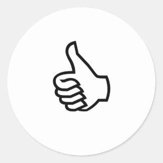 Black Thumbs Up Classic Round Sticker