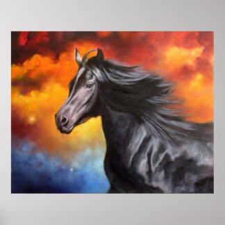 """Black Thunder"" Black Horse Art Print"