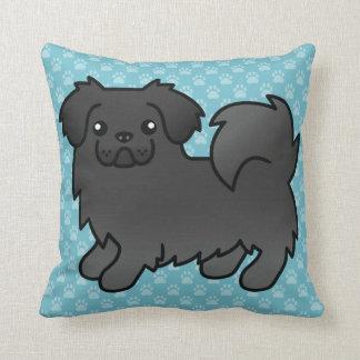 Black Tibetan Spaniel Dog Throw Pillows