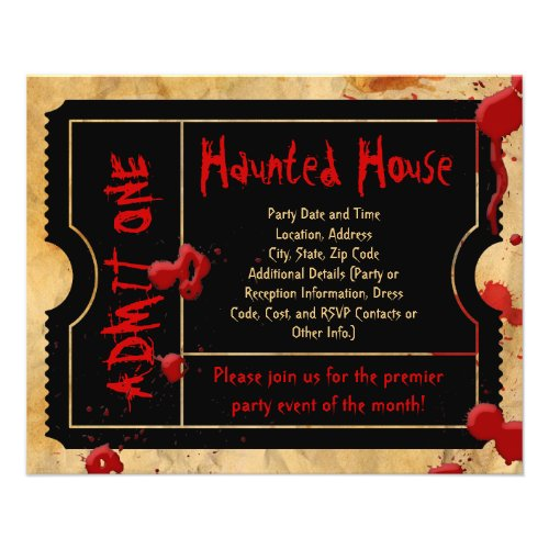 Black Ticket Blood Splatter Haunted House Flyers flyer