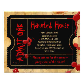 Black Ticket Blood Splatter Haunted House Flyers
