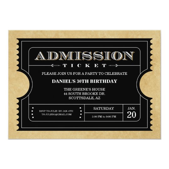 Black Ticket Invitations | Zazzle