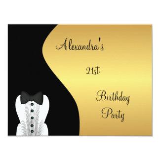 Black Tie 21st Birthday Party Black & Gold Card