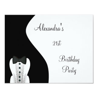 Black Tie 21st Birthday Party Black & White Card