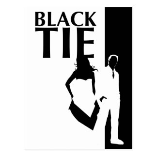 black tie affair : man and woman silhouette postcard