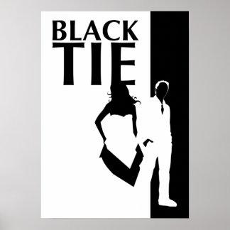 black tie affair : man & woman silhouette poster