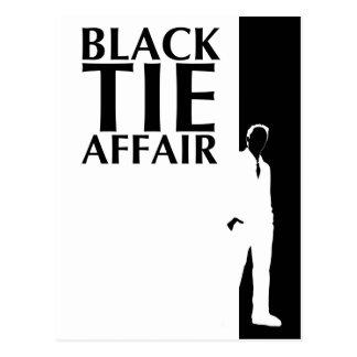 black tie affair : serious silhouette postcard