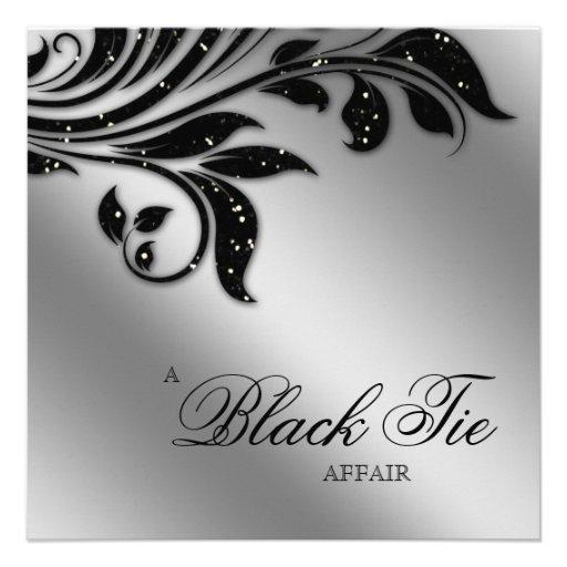 Black Tie Christmas Party Sparkle Silver 5.25x5.25 Square ...