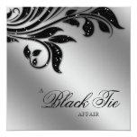 "Black Tie Christmas Party Sparkle Silver 5.25"" Square Invitation Card"