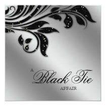 Black Tie Christmas Party Sparkle Silver Invitation